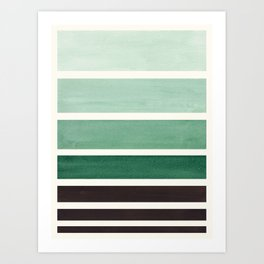 Deep Green Minimalist Watercolor Mid Century Staggered Stripes Rothko Color Block Geometric Art Art Print