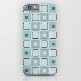 Mid Century Retro Geometric Squares in Modern Peacock Blue Teal Dill Green Black Beige iPhone Case