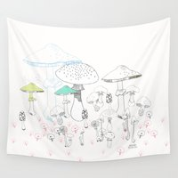 mushrooms Wall Tapestries featuring Mushrooms by Vibeke hoie