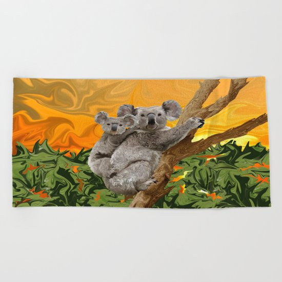 Koala Sunset Beach Towel