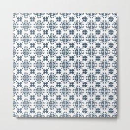 Dusky Blue Flower Flourish Pattern Metal Print