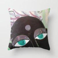 hindu Throw Pillows featuring Hindu Woman by Kathead Tarot/David Rivera