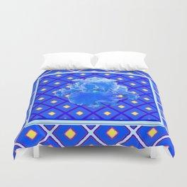 Blue Pattern Baby Blue Iris Art Yellow Checks Duvet Cover