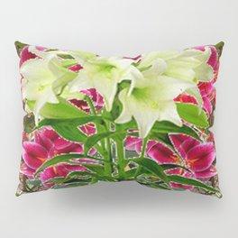 BLUE BUTTERFLIES &  LILY FLOWER  RED ART Pillow Sham