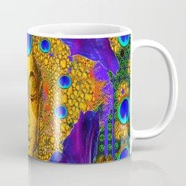 MYSTIC PEACOCK BLUE FEATHER EYES BUDDHA ART Coffee Mug
