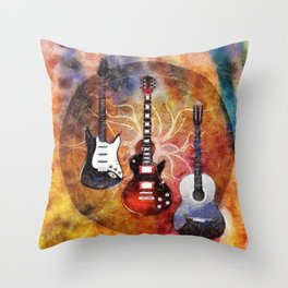 Guitar Love Trio Throw Pillow