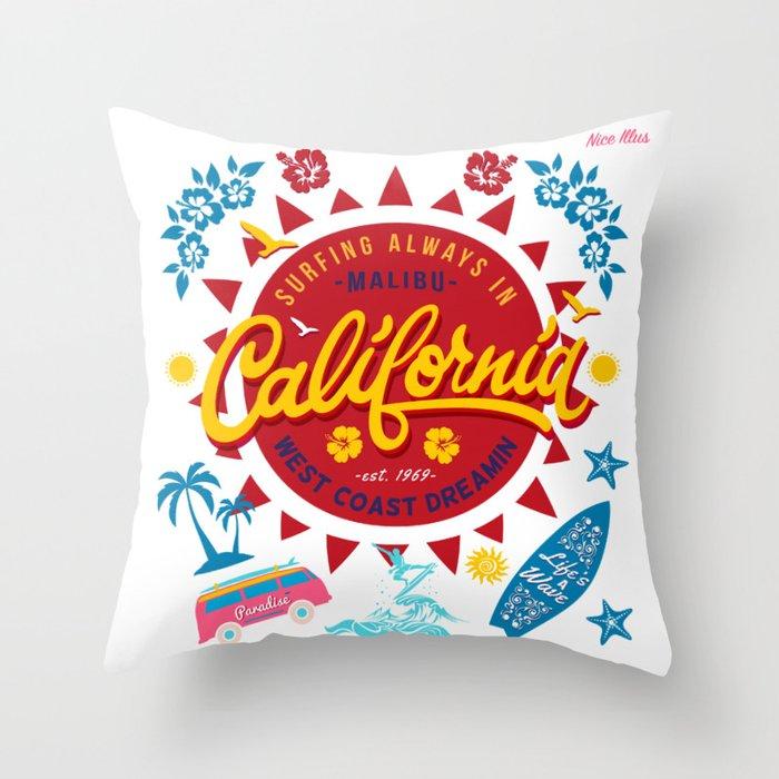 California West Coast Dreamin Throw Pillow