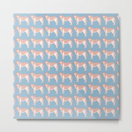 Kawaii Standing Dog Pattern Metal Print