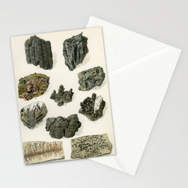 Vintage Gray Mineral Crystal Illustration from the 1907 book Atlas Mineralu   Stationery Cards