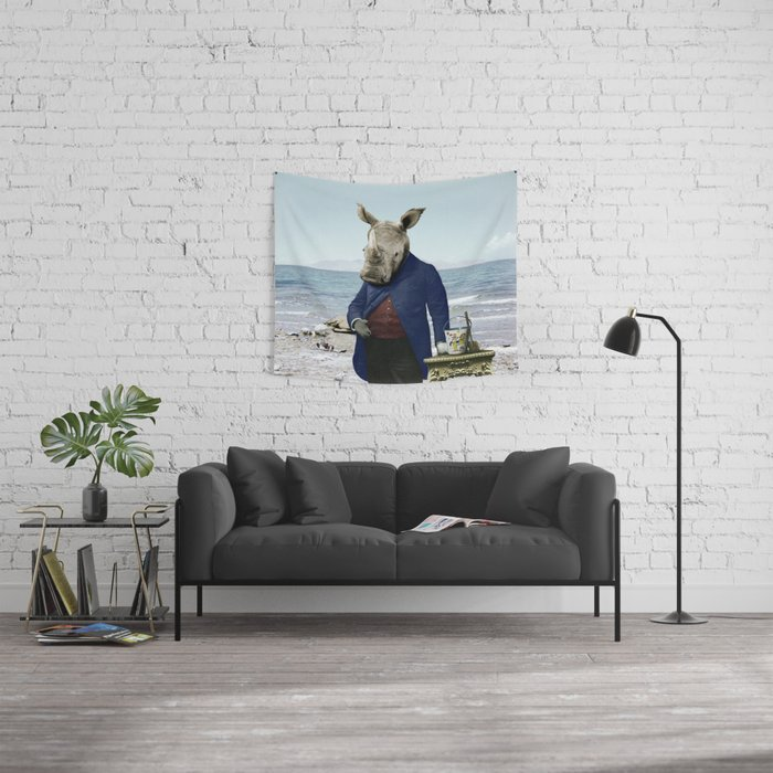 Mr. Rhino's Day at the Beach Wall Tapestry