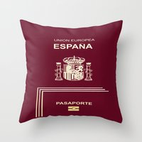 spanish Throw Pillows featuring Spanish Passport by Dano77