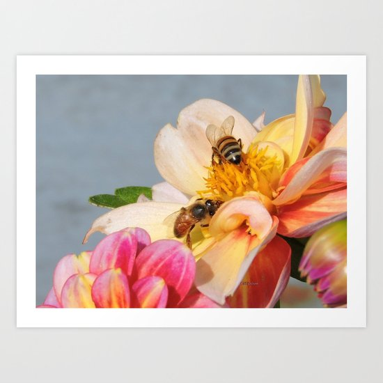 Honeybees at Work Art Print