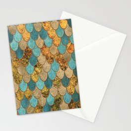 Oceanic Blue Gold Mermaid Scales HJYLY Stationery Cards