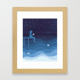 Boy with paper boats, blue Framed Art Print