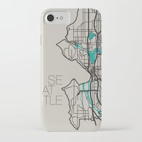 seattle iPhone & iPod Cases featuring Seattle by linnydrez