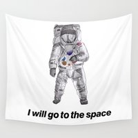 astronaut Wall Tapestries featuring astronaut by merry