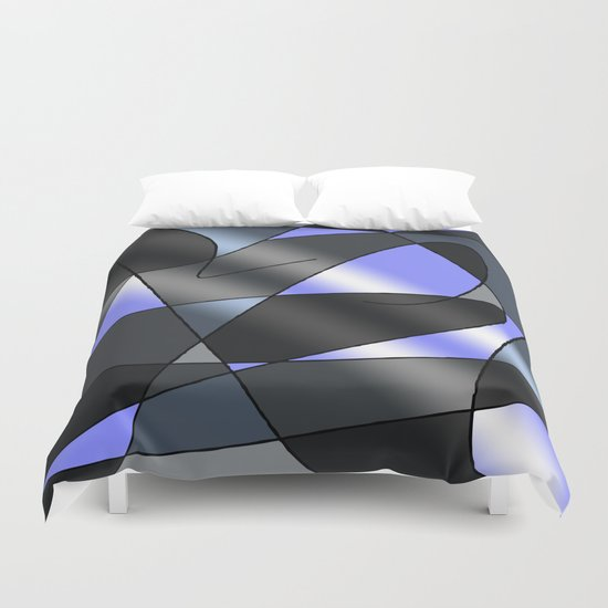 ABSTRACT CURVES #2 (Greys & Light Blue) Duvet Cover