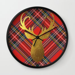 Gold Stag Head On Red Tartan Wall Clock