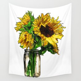 Sunflower In Mason Jar Wall Tapestry