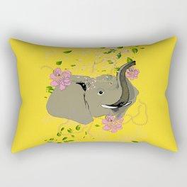Lucky Elephant in Yellow Rectangular Pillow