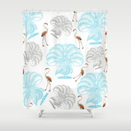 Vintage blue gray orange flamingo peacock drawing Shower Curtain