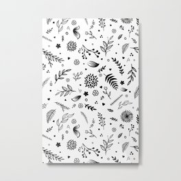 WHITE SPRING HAND DRAWING LINEWORK BY SUBGRL Metal Print