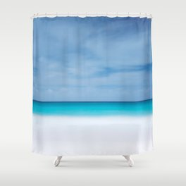Tropical paradise beach turquoise sea ocean nature travel hipster Caribbean Fiji horizon photograph Shower Curtain