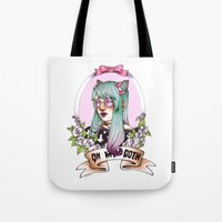 pastel goth Tote Bags featuring Oh my GOTH! by Raquel Amo Art