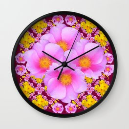 Pink & Yellow Burgundy Rose Flowers Art Wall Clock