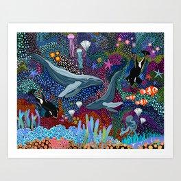 Whale Ocean Life Art Print