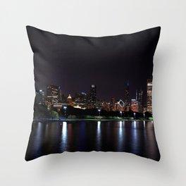 Chicago night skyline with fireworks, Usa. Throw Pillow