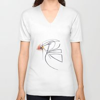 puffin V-neck T-shirts featuring Puffin Love by Chelle Shaw