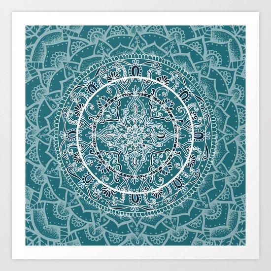 Detailed Teal and Blue Mandala Pattern Art Print