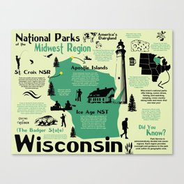 Wisconsin National Parks Infographic Map Canvas Print