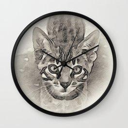 Cute Bengal Kitty Sketch Wall Clock
