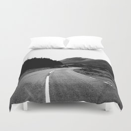 Road through the Glen - B/W Duvet Cover