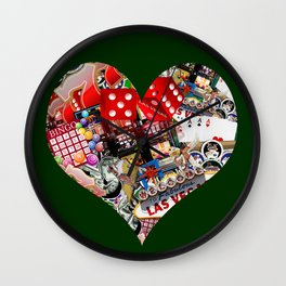 Heart Playing Card Shape - Las Vegas Icons Wall Clock
