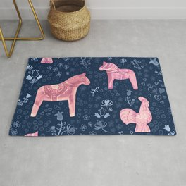 Swedish Dala Horse and Rooster Blue and Pink Pattern Rug