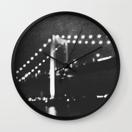 Manhattan Bridge At Night Wall Clock