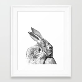 Black and white rabbit Framed Art Print