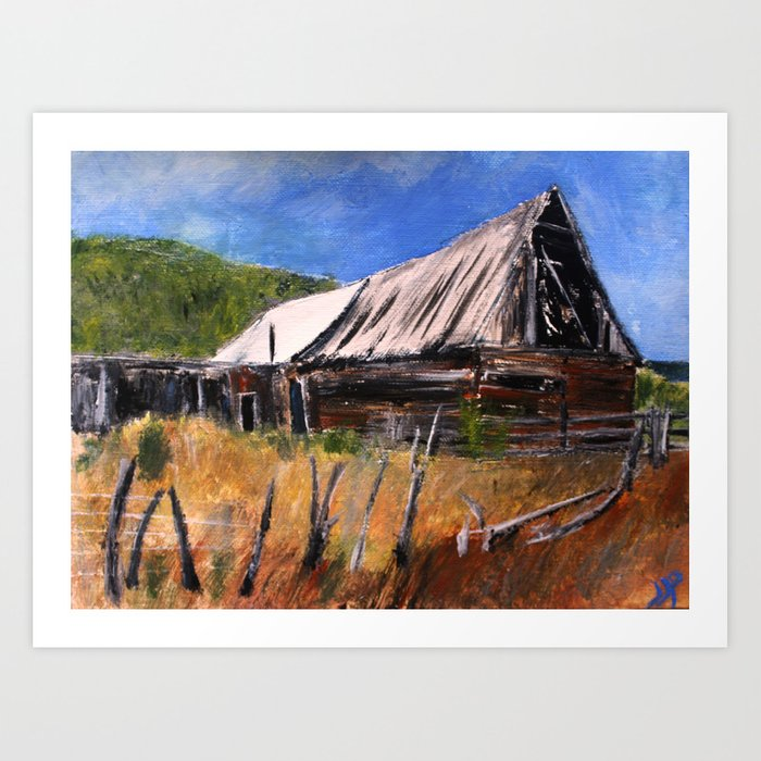 Old Barn New Mexico Desert Contemporary Acrylic Painting Art Print
