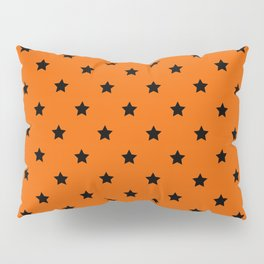 Orange and Black Stars Pattern Pillow Sham