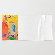 chagall's spring in the meadow with whale Beach Towel