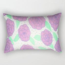 Purple Rose Pattern Rectangular Pillow