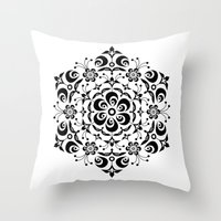 snowflake Throw Pillows featuring Snowflake by BWartwork