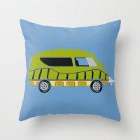 1975 Throw Pillows featuring Death Race 2000 Alligator Van by Brandon Ortwein