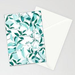 fresh green leaf pattern Stationery Cards