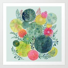Succulent Circles Art Print