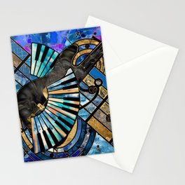 Abstract Guitar and Keys Art Collage Mixed Textures Stationery Cards