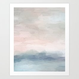 Blush Pink Mint Sky Baby Blue Abstract Ocean Sky Sunrise Wall Art, Water Clouds Painting Art Print